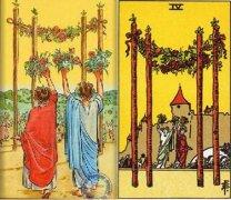 韦特澳门威尼斯人网址权杖四(Four Of Wands)的牌面代表什么意思?