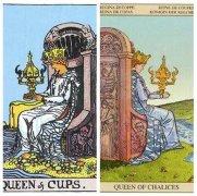 韋特塔羅牌圣杯組圣杯王后(Queen Of Cups)卡牌的牌面意義分析