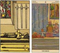 韦特塔罗牌宝剑四(Four Of Swords)卡牌的牌意是什么?