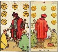 韦特塔罗小阿卡纳星币六(Six Of Pentacles)卡牌的牌面意义分析
