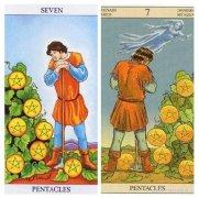 韦特塔罗牌星币七(Eight Of Pentacles)卡牌牌面的详细解析
