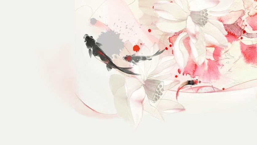 锦鲤素材 古风 手绘